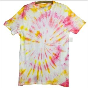 Highlighter Pink Neon Yellow Tie Dye Boyfriend Tee